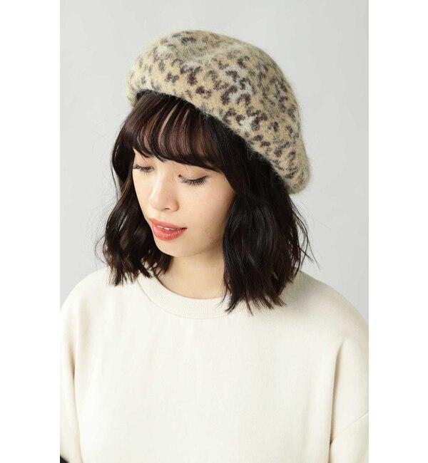 【ローズバッド/ROSEBUD】 レオパード柄ベレー帽