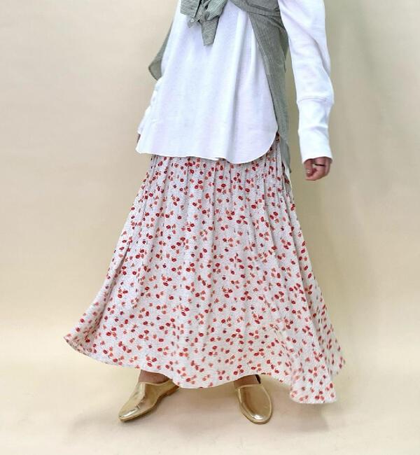 小花プリントシャーリングギャザースカート