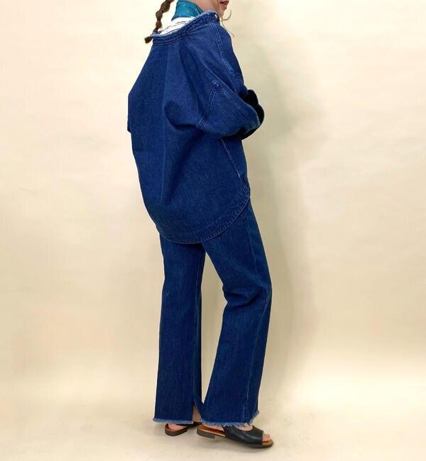 スタンド衿デニムシャツジャケット