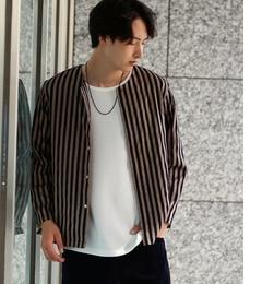 【ジュンレッド/JUNRed】 シャインストライプノーカラーシャツ [送料無料]