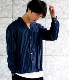 【ジュンレッド/JUNRed】 シャインストライプオープンカラーシャツ [送料無料]