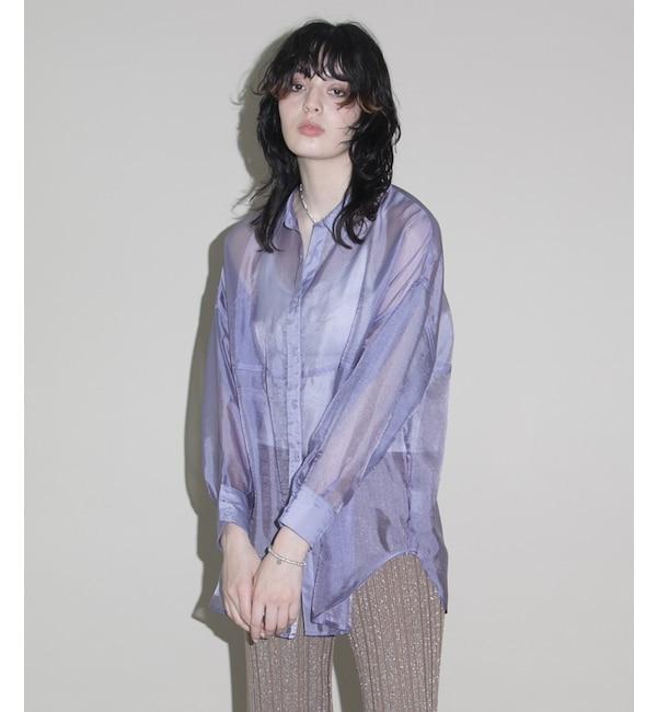 スモーキーカラーBIGシアーシャツ/ シースルーシャツ