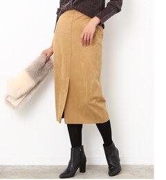 【ロペ/ROPE】 【Oggi2017年12月号掲載】 スエード調フロントスリットタイトスカート [送料無料]