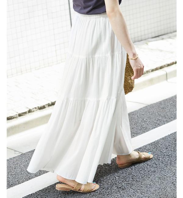 【ロペ マドモアゼル/ROPE madmoiselle】 楊柳プリーツティアードスカート