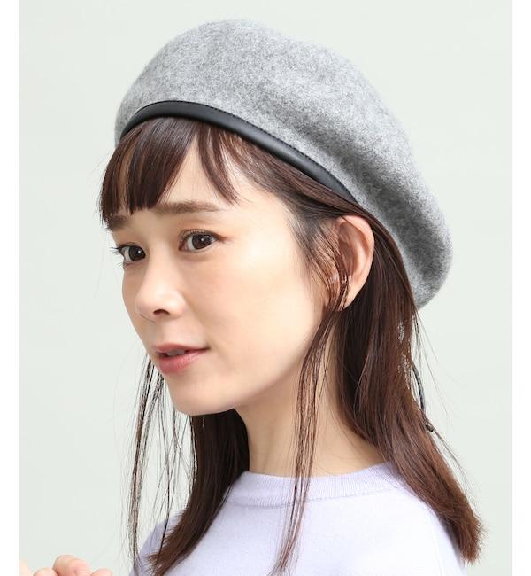 【ビス/ViS】 合皮パイピングフェルトベレー帽