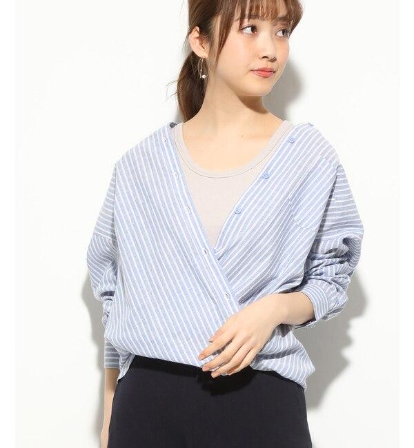 【ビス/ViS】 【2WAY】フレンチリネン混シャツ