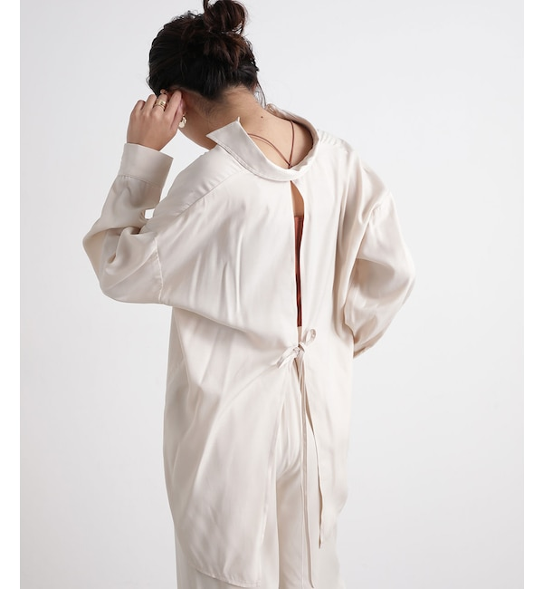 【WEB限定】【セットアップ対応】バックリボンとろみシャツ