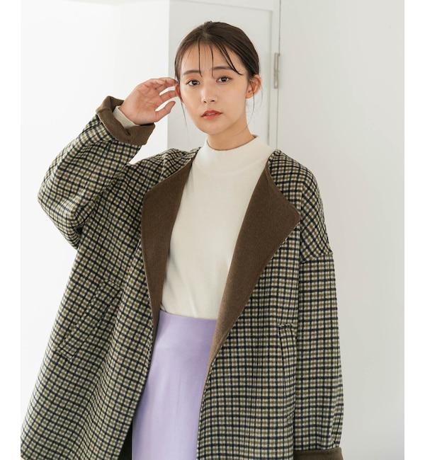 【リバー仕立て】ハーフ丈ノーカラーゆるコート