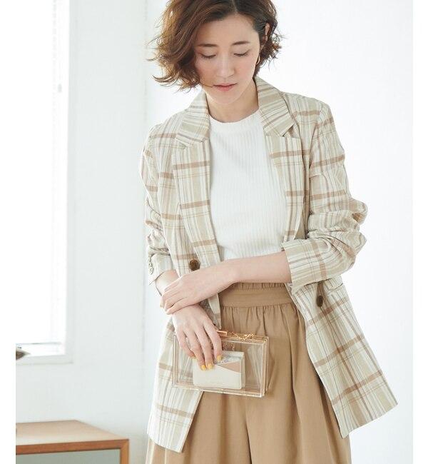 【ロペピクニック/ROPE' PICNIC】 【WEB限定】綿麻チェックジャケット