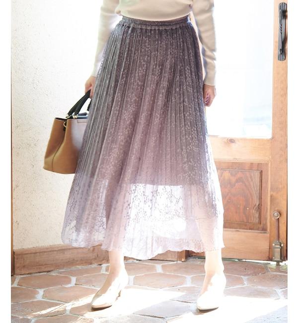 【ロペピクニック/ROPE' PICNIC】 【松岡茉優さん着用アイテム】レースチュールプリーツスカート