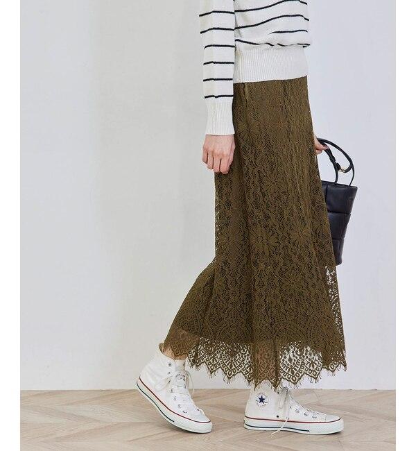 ハイウエストレーススカート