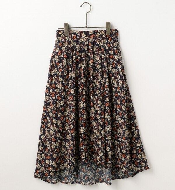 【フレームス レイカズン/frames RAY CASSIN】 花柄イレギュラーヘムスカート [送料無料]