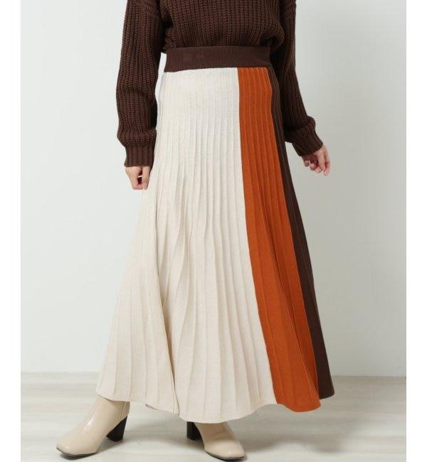 【フレームス レイカズン/frames RAY CASSIN】 3配色プリーツニットスカート