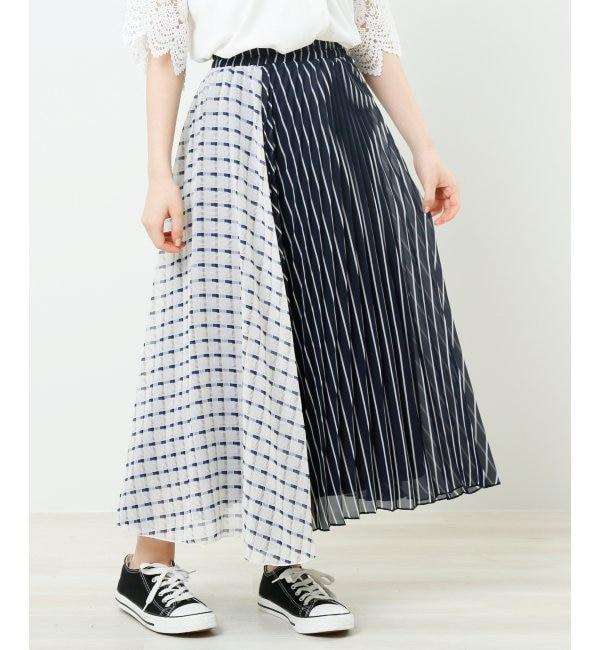 【レイカズン/RAY CASSIN】 ストライプ×チェック柄プリーツスカート