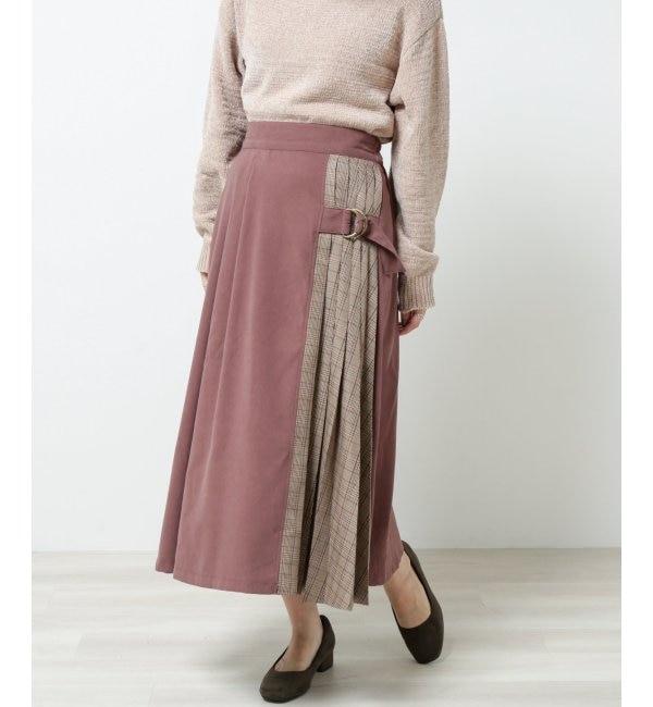 【レイカズン/RAY CASSIN】 微起毛xチェック配色プリーツスカート