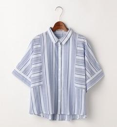 【ダブルネーム/DOUBLE NAME】 半袖切り替えマルチストライプシャツ [送料無料]