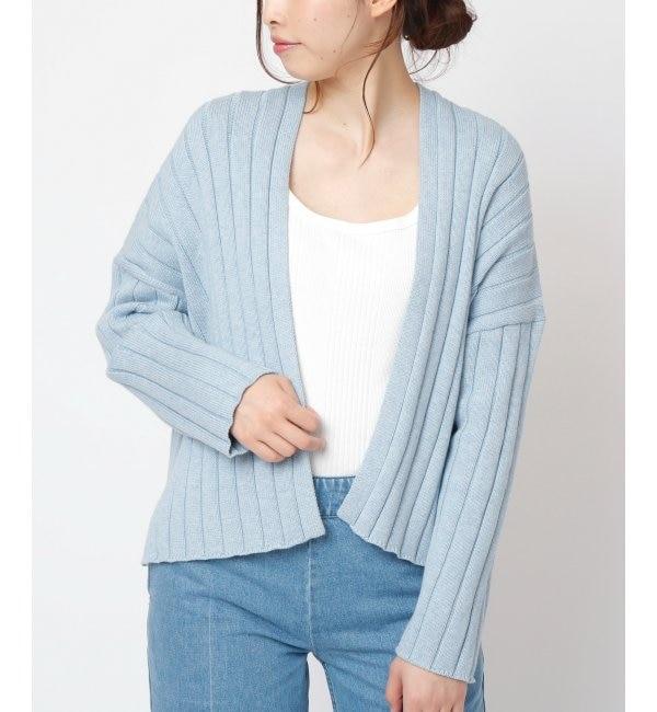 【ミューカ/MJUKA.】 綿糸5ゲージワイドリブショートカーディガン