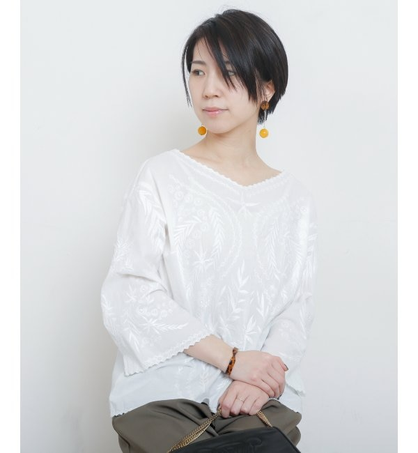 【ミューカ/MJUKA.】 2WAY刺繍ブラウス
