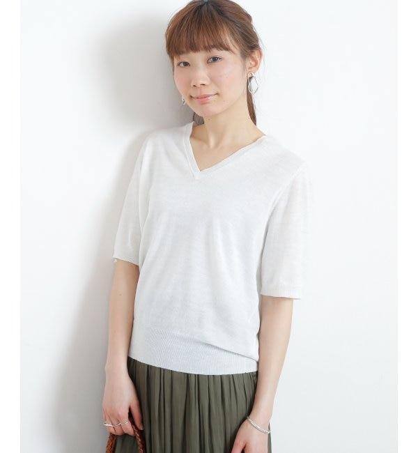 【ミューカ/MJUKA.】 Vネック半袖プルオーバー