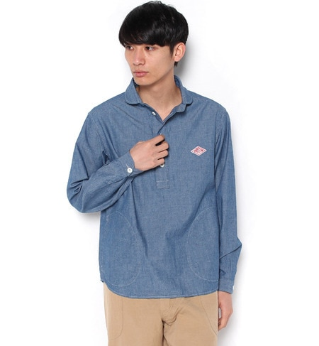 【ビショップ/Bshop】 【DANTON】長袖丸襟ポケット付プルオーバーシャツ [送料無料]