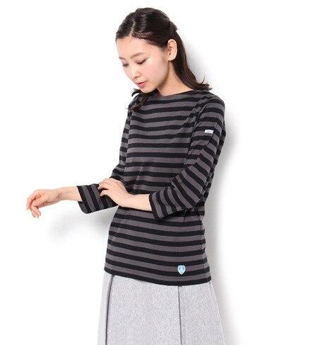 【ビショップ/Bshop】 【ORCIVAL】7分袖ボートネックTシャツ(EQUAL STRIPE) [送料無料]