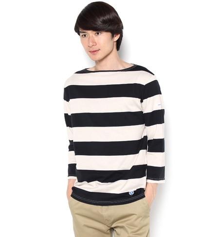 【ビショップ/Bshop】 【ORCIVAL】7分袖ボートネックTシャツ(WIDE STRIPE) [送料無料]