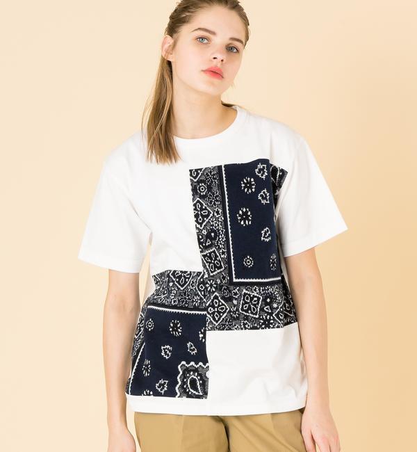 【ビショップ/Bshop】 【COOHEM】〈別注〉バンダナ ジャガードTシャツ NVY WOMEN [送料無料]