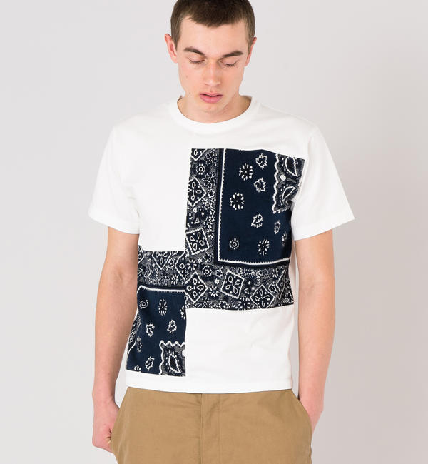 【ビショップ/Bshop】 【COOHEM】〈別注〉バンダナ ジャガードTシャツ NVY MEN [送料無料]
