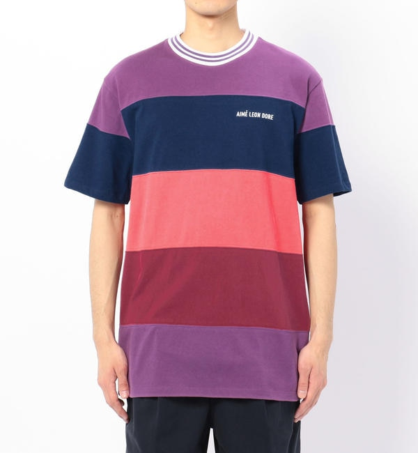 【ビショップ/Bshop】 【AIME LEON DORE】ストライプリブ 半袖Tシャツ PURPLE MEN