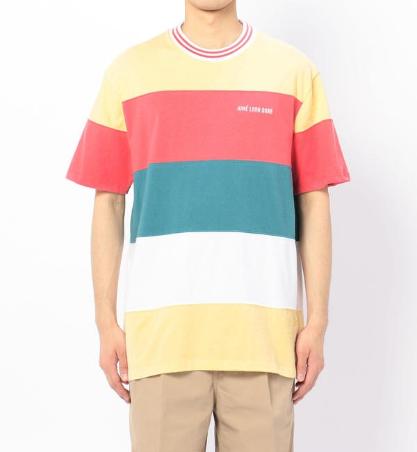 【ビショップ/Bshop】 【AIME LEON DORE】ストライプリブ 半袖Tシャツ BEACH SAND MEN