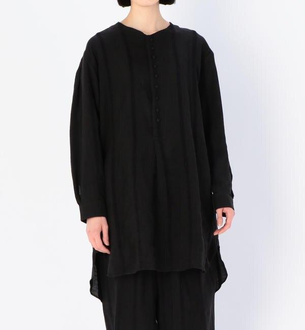 【ビショップ/Bshop】 【HAVERSACK】シェニールストライプ セミロングシャツ WOMEN