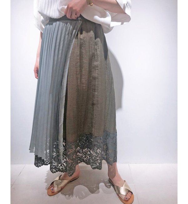 【コラージュ ガリャルダガランテ/COLLAGE GALLARDAGALANTE】 【EMMALIA】異素材プリーツスカート