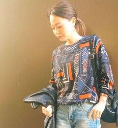 BIGTEEエスニック【イアパピヨネ/ear PAPILLONNER レディス Tシャツ・カットソー グレー ルミネ LUMINE】