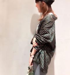 パイピングストライプ パジャマシャツ【ドゥドゥ/DouDou レディス シャツ・ブラウス グリーン ルミネ LUMINE】