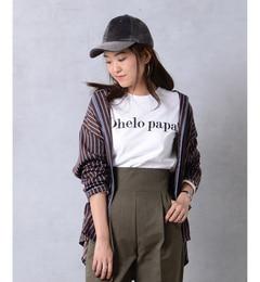 パイピングストライプ パジャマシャツ【ドゥドゥ/DouDou レディス シャツ・ブラウス ブラウン ルミネ LUMINE】