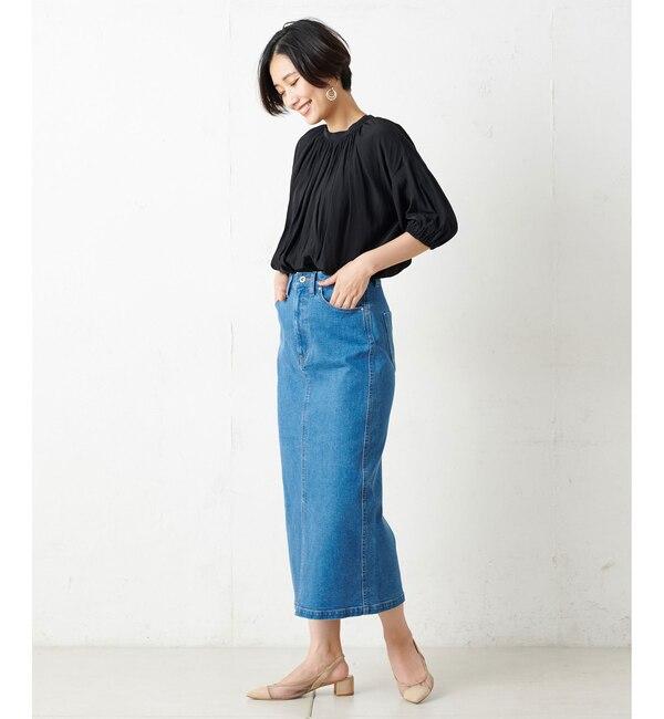 【アンディコール/un dix cors】 【洗える】ストレッチデニムナロースカート