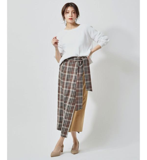【アンディコール/un dix cors】 【手洗い可】カラーチェックドッキングスカート