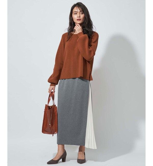 【アンディコール/un dix cors】 【WEB限定】サイドプリーツボンディングスカート