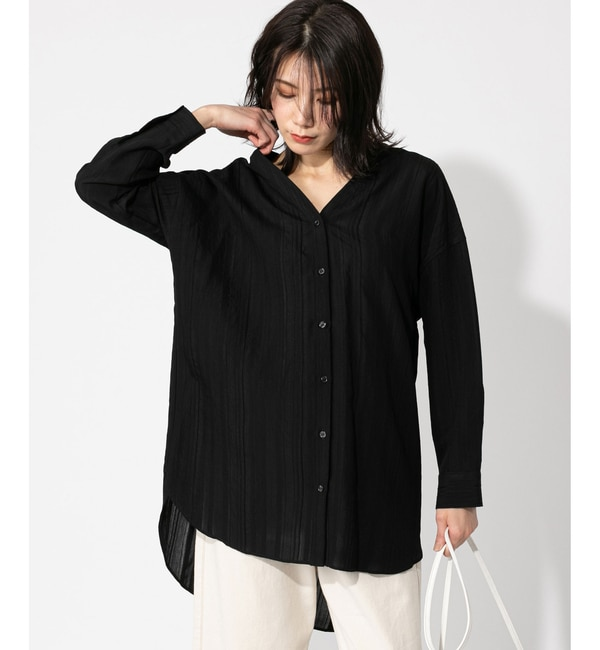 【アンディコール/un dix cors】 【WEB限定・手洗い可】オルタネードストライプノーカラーシャツ