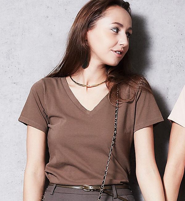 【ラウンジドレス/Loungedress】 シンプルVネックTシャツ [送料無料]