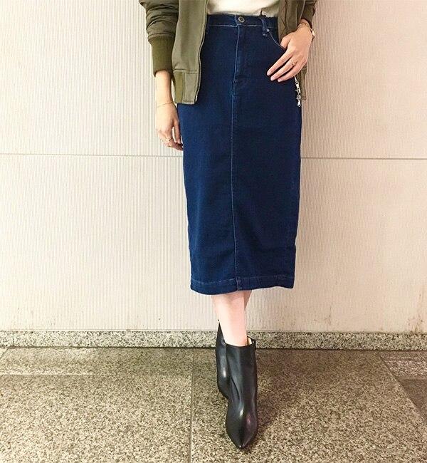 【ラウンジドレス/Loungedress】 【YANUK】デニットペンシルスカート