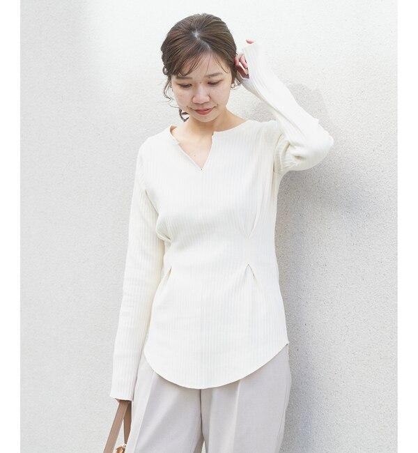 【カプリシュ レマージュ/CAPRICIEUX LE'MAGE】 ウエストタック2wayリブTシャツ