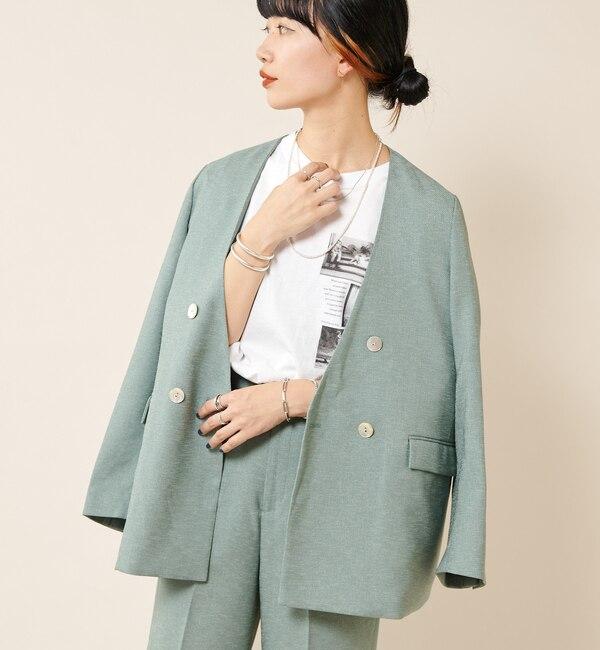 リネンライクノーカラージャケット