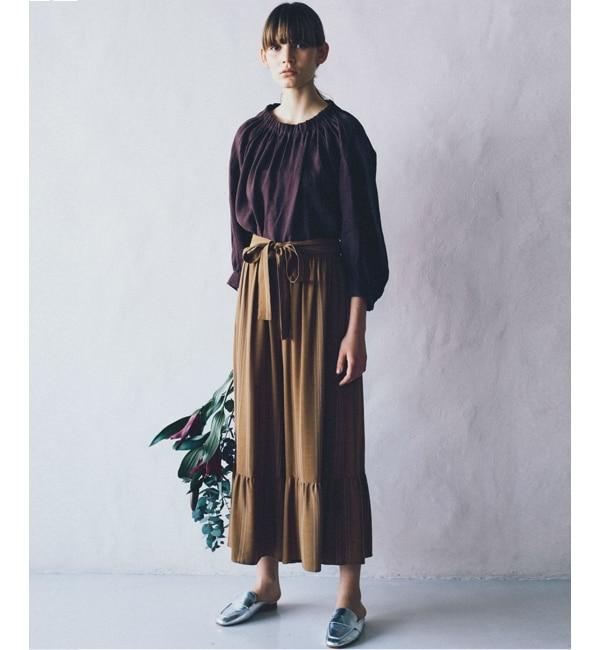 【ニーム/NIMES】 ストライプ 裾フレアーパンツ