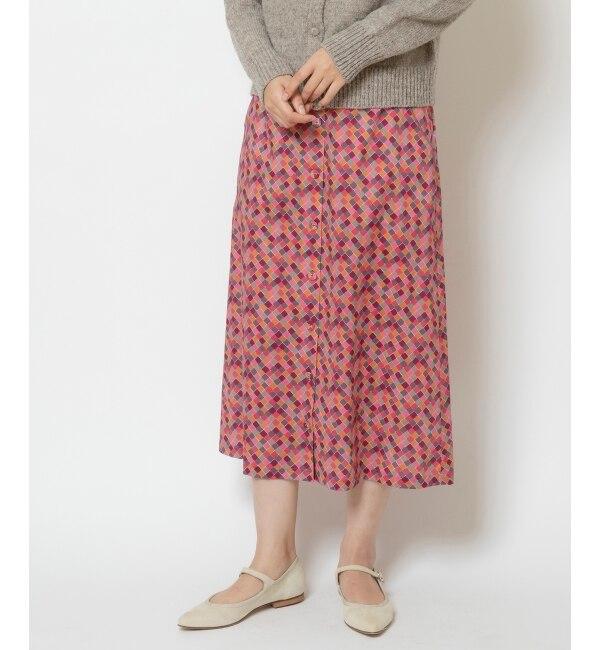 【ニーム/NIMES】 リバティプリント chocolatスカート