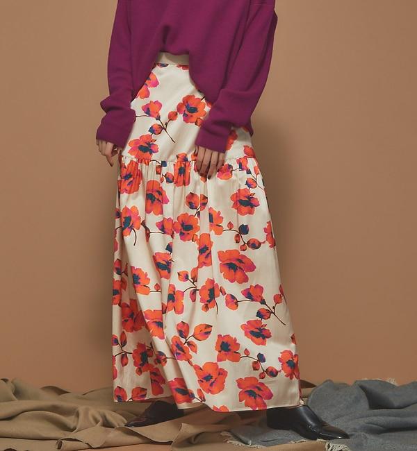 【カトルナフ/36Quatre-Neuf】 フラワープリントマキシスカート