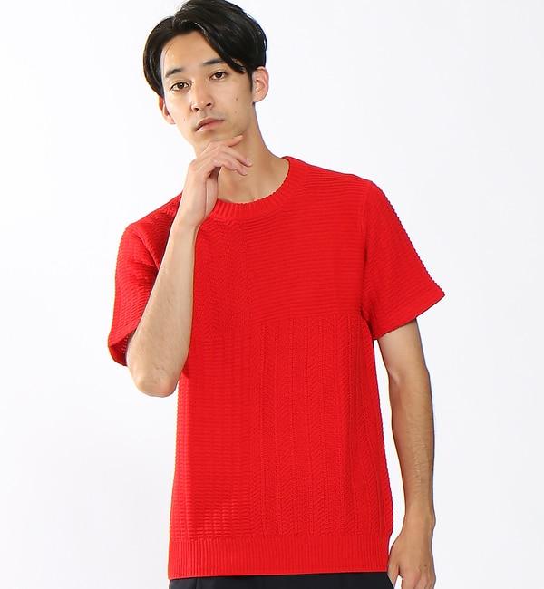 【アバハウス/ABAHOUSE】 4面パネル強撚リンクスニットTシャツ