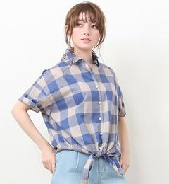 【ルージュ・ヴィフ ラクレ/Rouge vif la cle】 チェック前結びシャツ [送料無料]