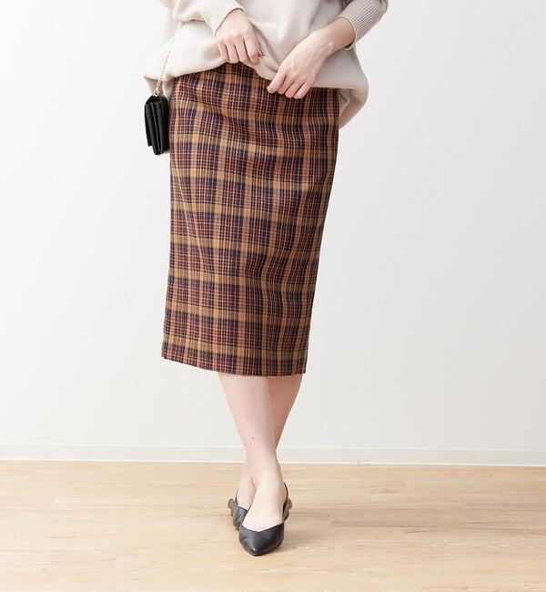【ルージュ・ヴィフ ラクレ/Rouge vif la cle】 ベルト付きチェックタイトスカート