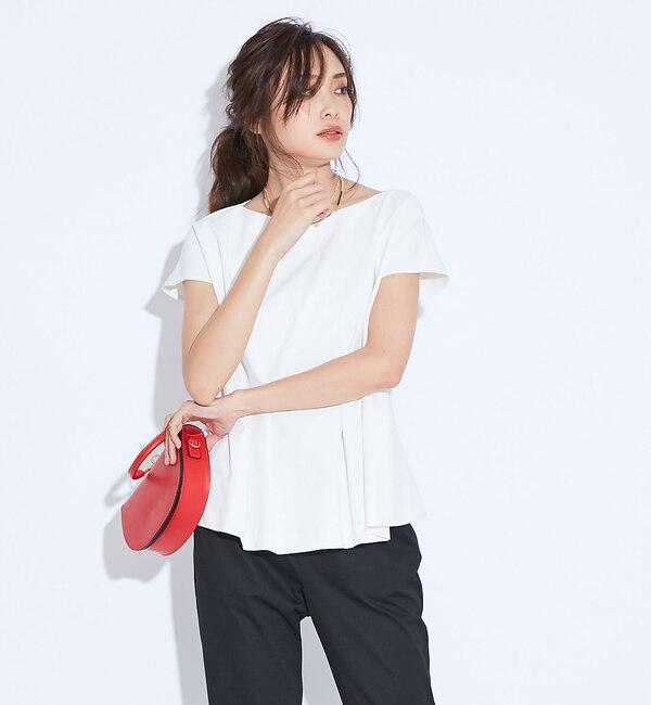 【カリテ/qualite】 2WAYストレッチペプラムシャツ